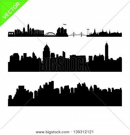 Bangkok landmark and a skyline silhouettes vector