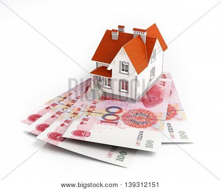 Chinese yuan banknotes under house. 3d illustration.