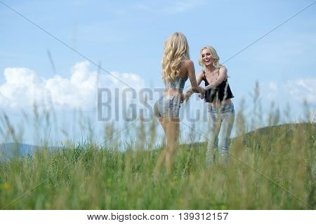 Pretty Women In Field Outdoor