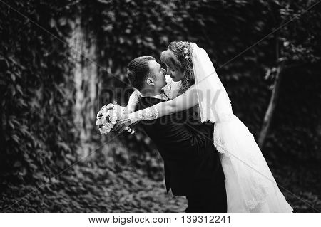 Kissing Wedding Couple, Groom Holds On Hands His Wife