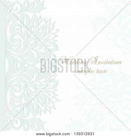 Vector invitation card ornamental lace with damask element
