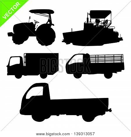 truck and tractor silhouettes vector on white color background