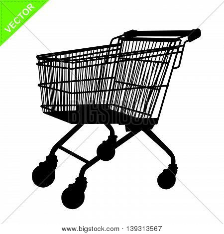 Shopping cart silhouette vector on white color background