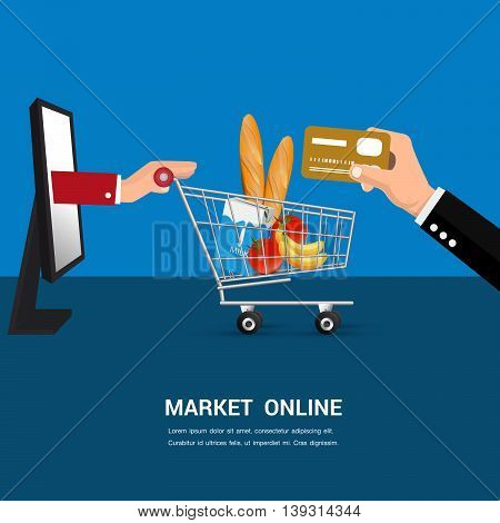 Market shopping online cartoon vector. ( business shopping online concept)