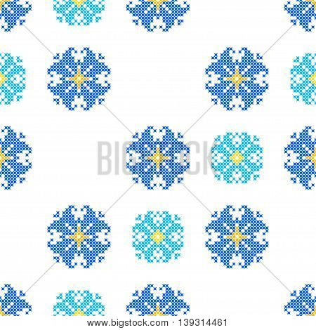 Seamless embroidered texture of abstract flat patterns bells cross-stitch ornament for cloth