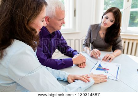 Senior woman and man at retirement financial planning with consultant or advisor