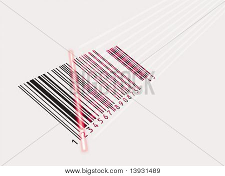 Vector. Laser beam and barcode