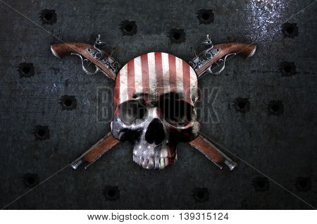 Skull and guns. Skull and vintage pistols