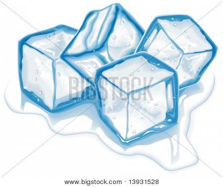 Vier Vektor-Eiswürfel