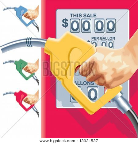 Vector refueling hose and gas station counters