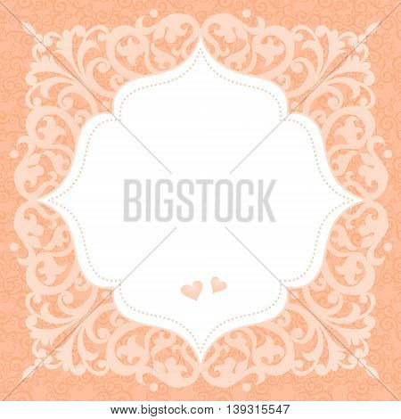 Vintage invitation card with place for your text. Pink Victorian background. Template frame design for greeting and wedding card. You can place your text in the empty place.