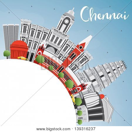Chennai Skyline with Gray Landmarks, Blue Sky and Copy Space. Business Travel and Tourism Concept with Historic Buildings. Image for Presentation Banner Placard and Web Site.