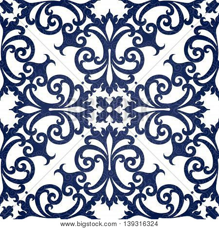 Vector seamless pattern with swirls and floral motifs in retro style. Contrast Victorian background. It can be used for wallpaper pattern fills web page background surface textures.