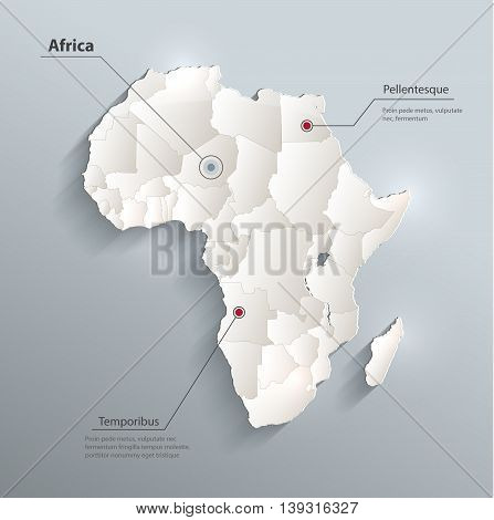 Africa political map 3D vector individual states separate