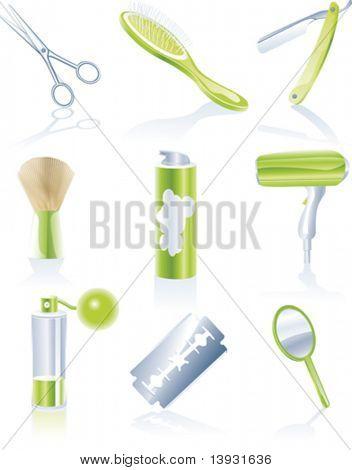 Vector hairdresser accessories icon set