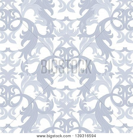 Vector damask pattern ornament. Exquisite Baroque element template. Classical luxury fashioned damask ornament Royal Victorian texture for textile wrapping. serenity blue color