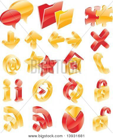 Raster red and yellow web/blog icons