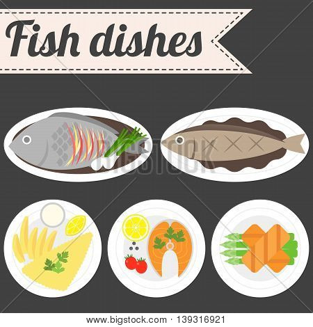 Vector Fish Dishes, fish streak, fish and chips, sashimi