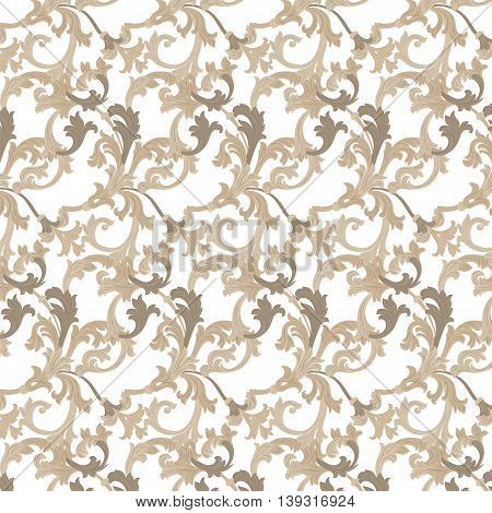 Vector damask pattern ornament. Exquisite Baroque element template. Classical luxury fashioned damask ornament Royal Victorian texture for textile wrapping. Almond beige color