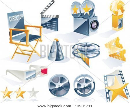 Vector gedetailleerde film icon set