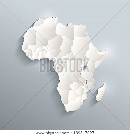 Africa political map 3D raster individual states separate