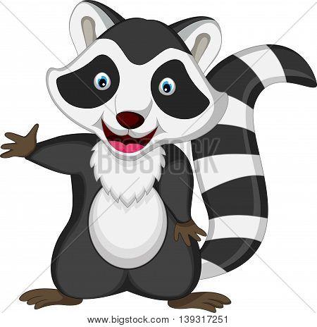 cute raccoon cartoon posing for you design
