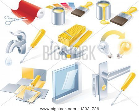 Conjunto de iconos de servicio de reparaciones de Vector