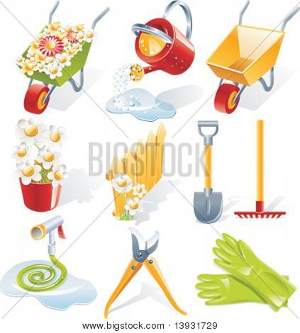 Vector gardening icon set