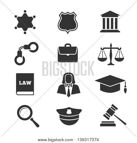 Justice, law, police vector icons. Set of justice icons, illustration legal justice