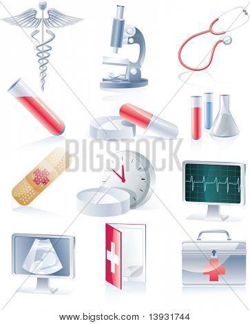 Raster version. Medical equipment icon set