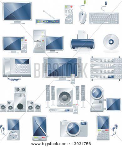 Conjunto de iconos de Vector equipos electrónicos