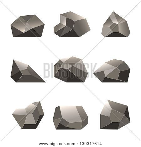 Polygon stone or poly rock vector icons. Set of triangular stones illustration