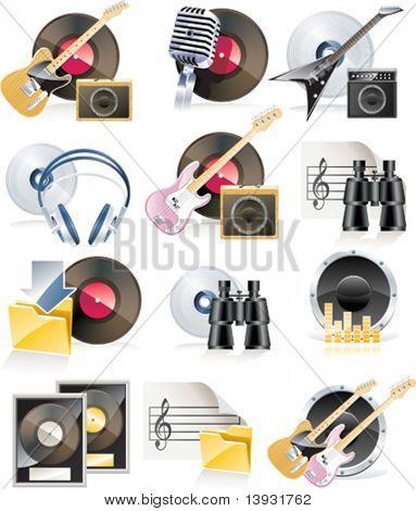 Conjunto de ícones musicais altamente detalhadas de vetor