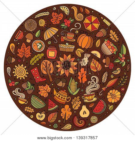 Colorful vector hand drawn doodle cartoon set of Autumn objects, symbols and items. Round composition
