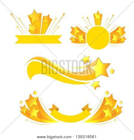 Vector label banners ribbons with stars burst. Label with gold star and illustration emblem with explosion star
