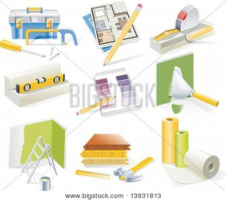 Vector home renovation and redesign icon set