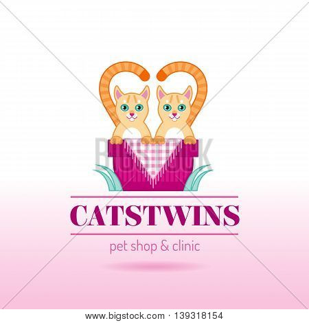 Vector illustration of funny cute cats twins couple sitting in basket on color background. Logo icon design template with abstract symbol and text lettering pet shop and veterinary clinic
