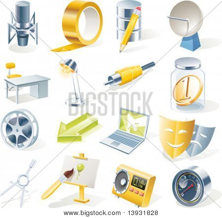 Vector objects icons set. Part 11