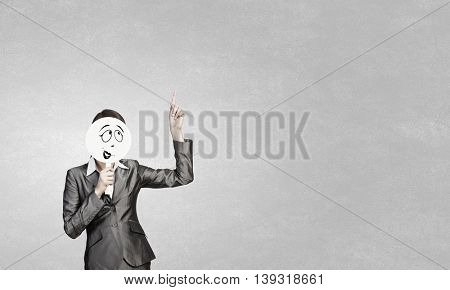 Girl with funny mask near face