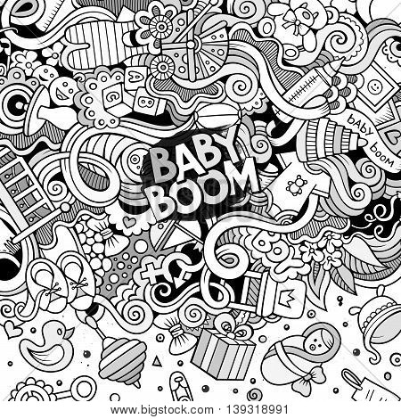 Cartoon cute doodles hand drawn baby frame design. Line art detailed, with lots of objects background. Funny vector illustration. Sketchy border with child theme items