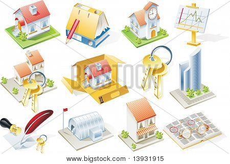 Versión de la trama de conjunto de iconos de bienes raíces. Parte 1
