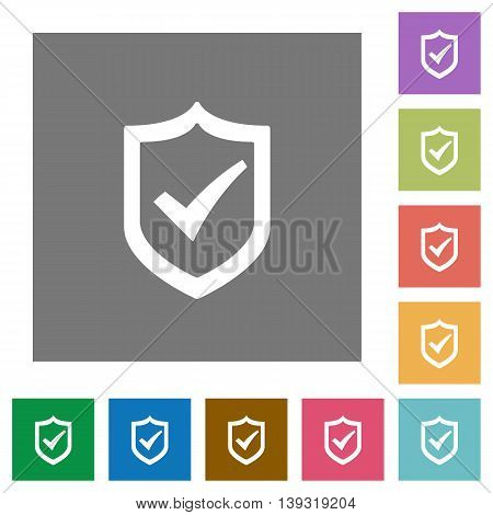 Active shield flat icon set on color square background.