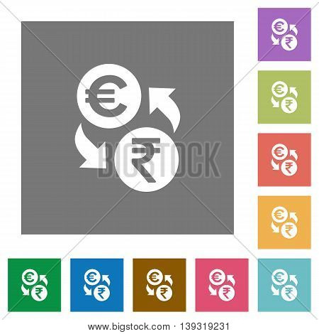Euro Rupee exchange flat icon set on color square background.