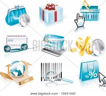 Vector de compras y el conjunto de iconos de consumismo