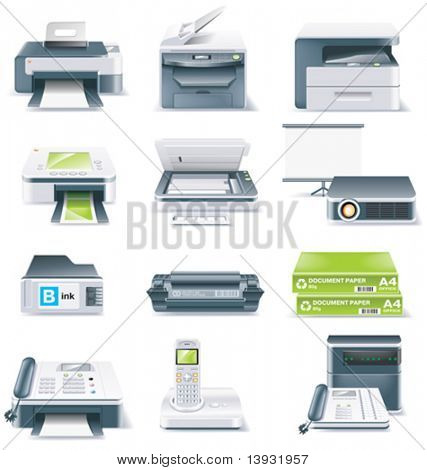 Vector detailed computer parts icon set. Part 4 of 5