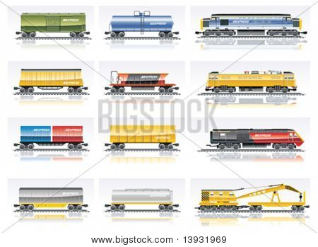 Vector Eisenbahn Transport Icon Set. Teil 1