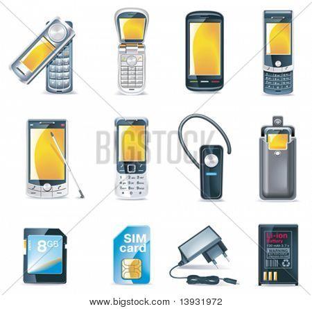 Conjunto de ícones de telefones móveis do vetor
