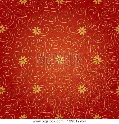 Ornamental seamless pattern with small flowers and curls. Red floral endless background. It can be used for wallpaper pattern fills web page background surface textures.