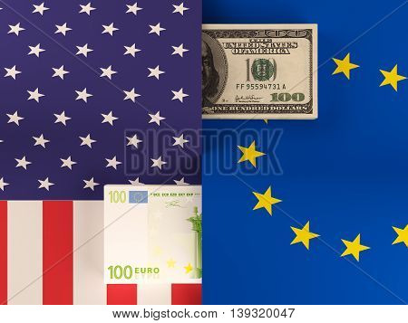 Money transfer between United States and European Union. 3d rendering.