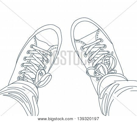 Hand drawn legs with jeans in gumshoes. Youth fashion. Line vector illustration. EPS